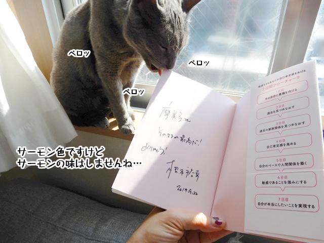 根本さんの本を舐めるギンちゃん