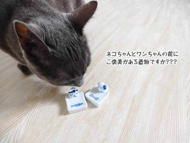 ネコちゃんとワンちゃんの前に ご褒美がある置物ですか???