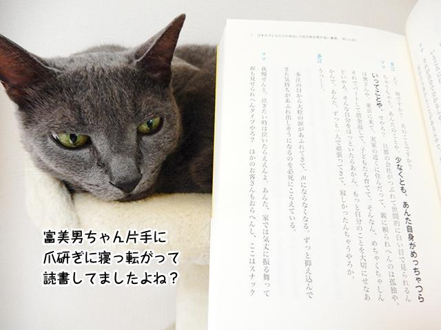富美男ちゃん片手に爪研ぎに寝っ転がって読書してましたよね?