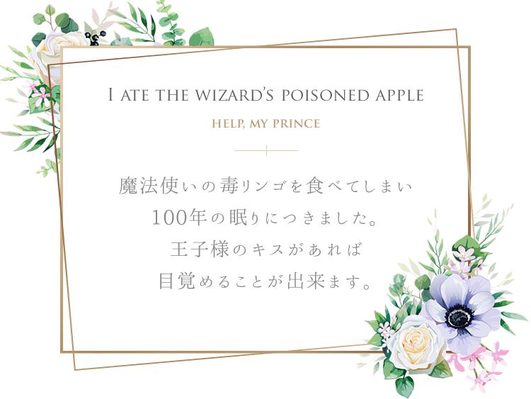 魔法使いの毒リンゴを食べてしまい、100年の眠りにつきました。王子様のキスがあれば目覚めることができます。