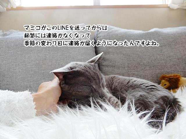 マミコがこのLINEを送ってからは 頻繁には連絡がなくなって季節の変わり目に連絡が届くようになったんですよね。