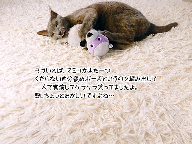 そういえば、マミコがまた一つくだらない自分褒めポーズというのを編み出して一人で実演してケラケラ笑ってましたよ。頭、ちょっとおかしいですよね…
