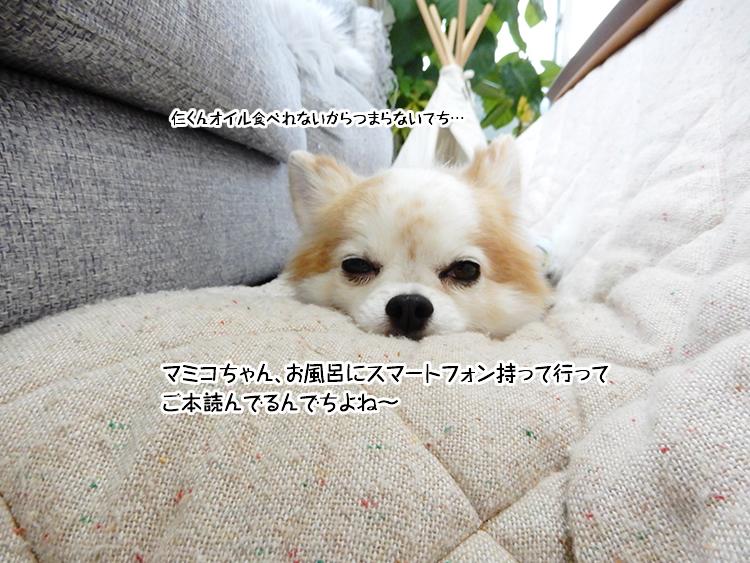 マミコちゃん、お風呂にスマートフォン持って行ってご本読んでるんでちよね~