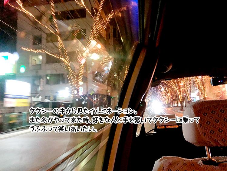 タクシーの中から見たイルミネーション。また冬がやって来た時、好きな人と手を繋いでタクシーに乗って うふふって笑いあいたい。