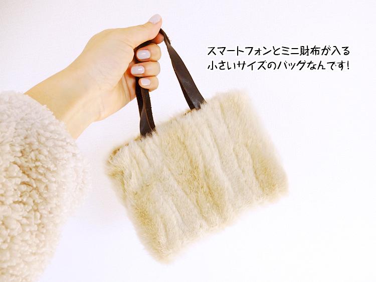 スマートフォンとミニ財布が入る小さいサイズのバッグなんです!