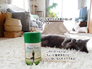 このバスソルトはちょっと奮発系だけどいい匂いなんだそうですよ!オシャレな女の人のお家の匂いがするんでちよー