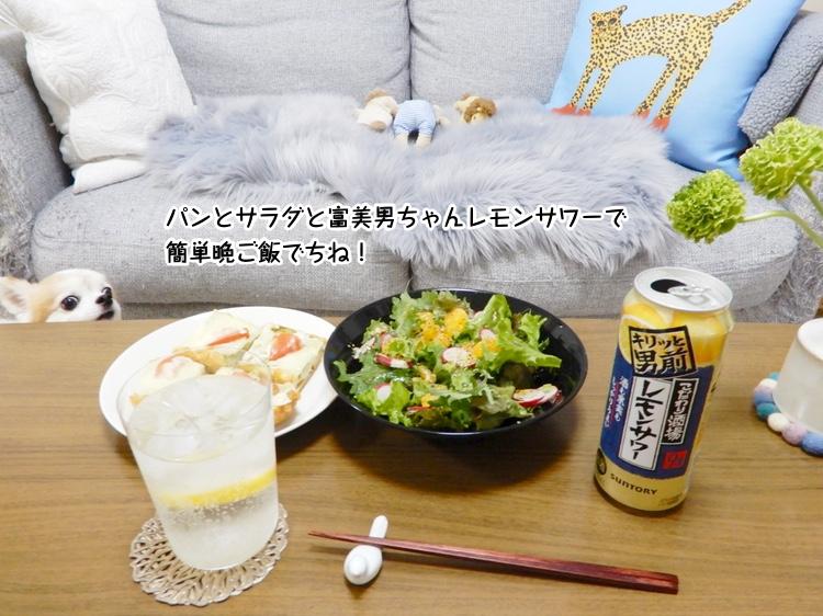パンとサラダと富美男ちゃんレモンサワーで簡単晩ご飯でちね!