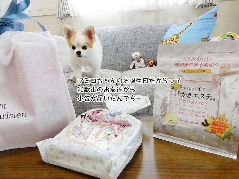 マミコちゃんのお誕生日だからって 和歌山のお友達から 小包が届いたんでちー