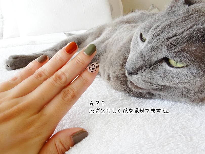 ん?? わざとらしく爪を見せてますね。