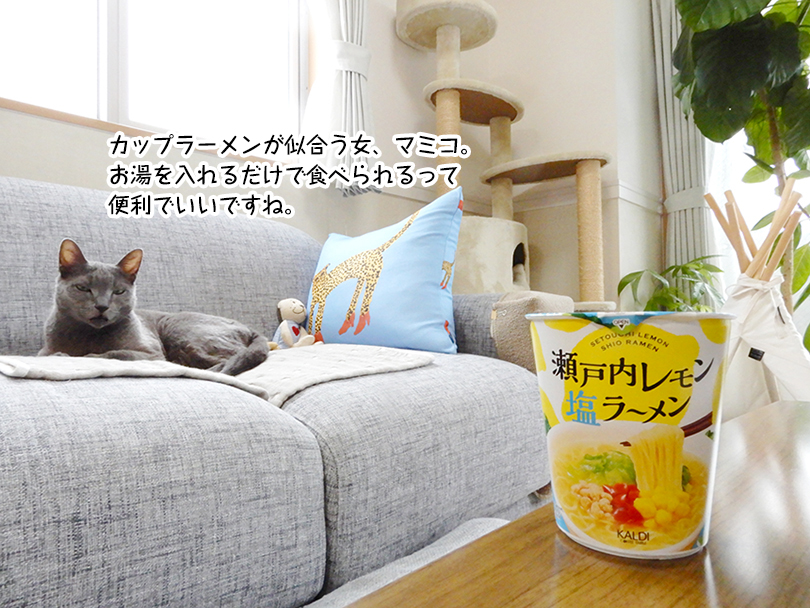 カップラーメンが似合う女、マミコ。 お湯を入れるだけで食べられるって 便利でいいですね。