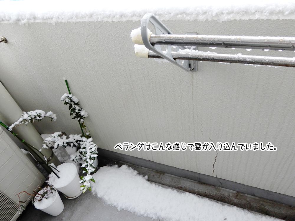 ベランダはこんな感じで雪が入り込んでいました。