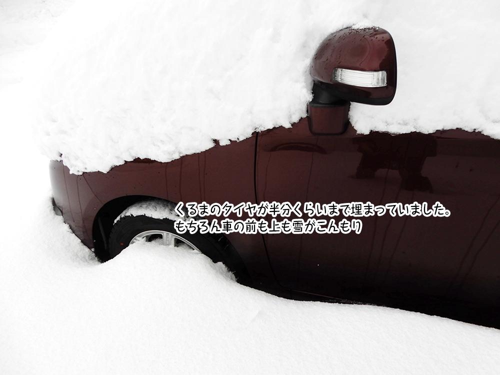 くるまのタイヤが半分くらいまで埋まっていました。 もちろん車の前も上も雪がこんもり