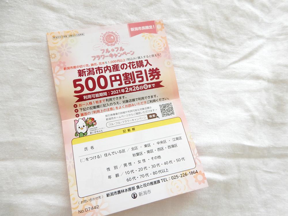 新潟市産のお花500円割引券