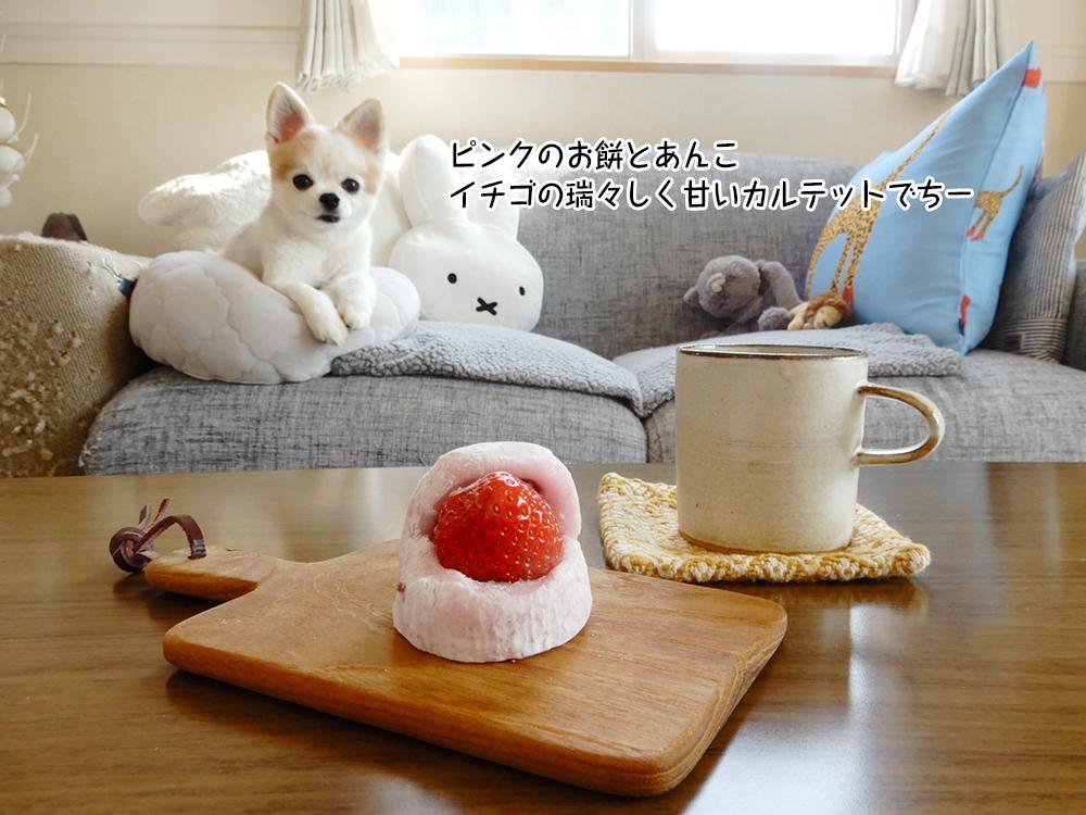 ピンクのお餅とあんこ イチゴの瑞々しく甘いカルテットでちー