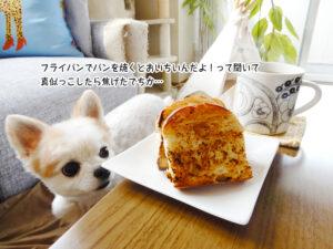 フライパンでパンを焼くとおいちいんだよ!って聞いて 真似っこしたら焦げたでちか…