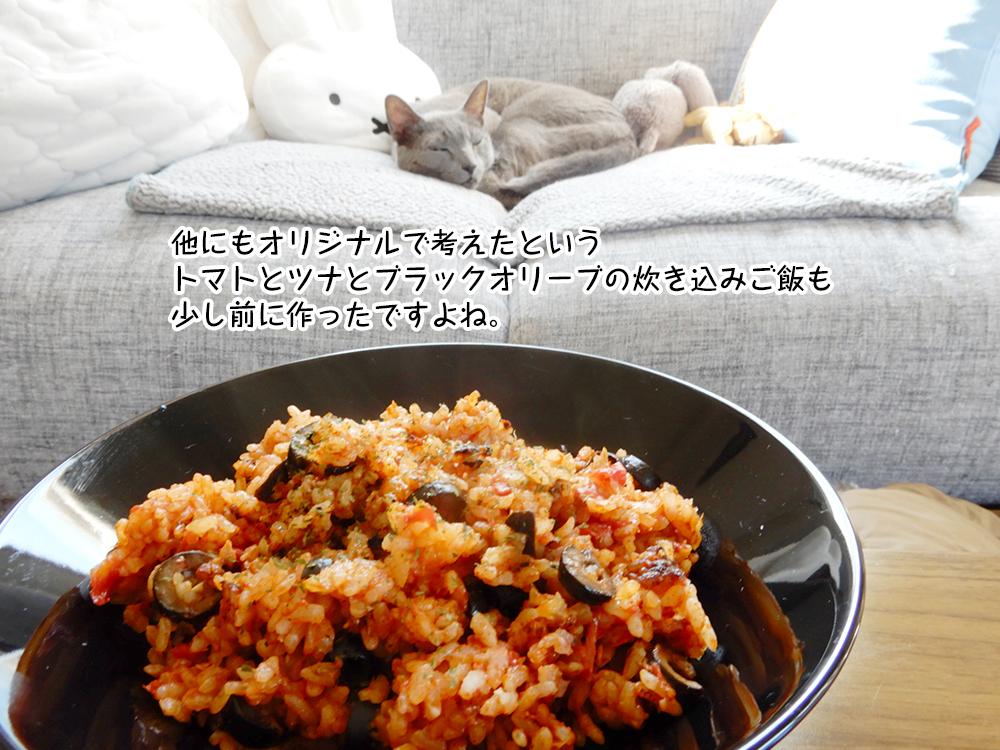 他にもオリジナルで考えたという トマトとツナとブラックオリーブの炊き込みご飯も 少し前に作ったですよね。