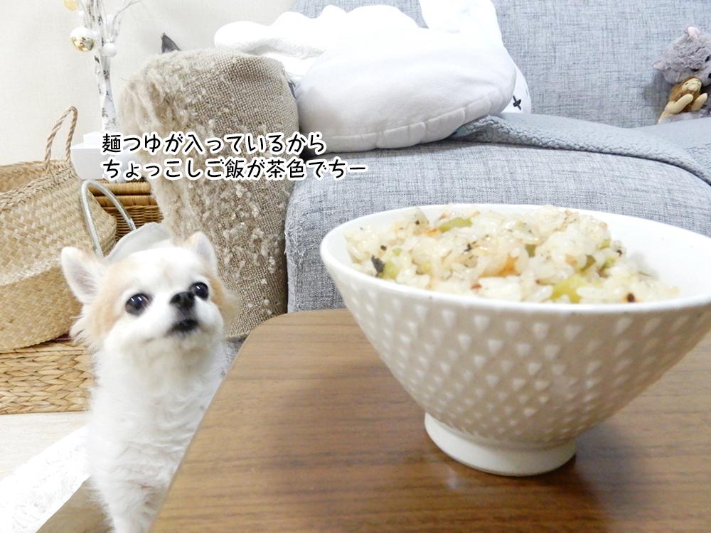 麺つゆが入っているから ちょっこしご飯が茶色でちー
