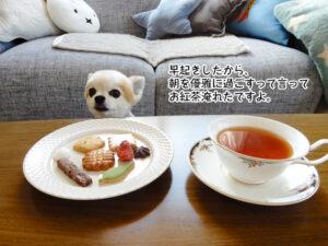 早起きしたから、 朝を優雅に過ごすって言って お紅茶淹れたですよ。