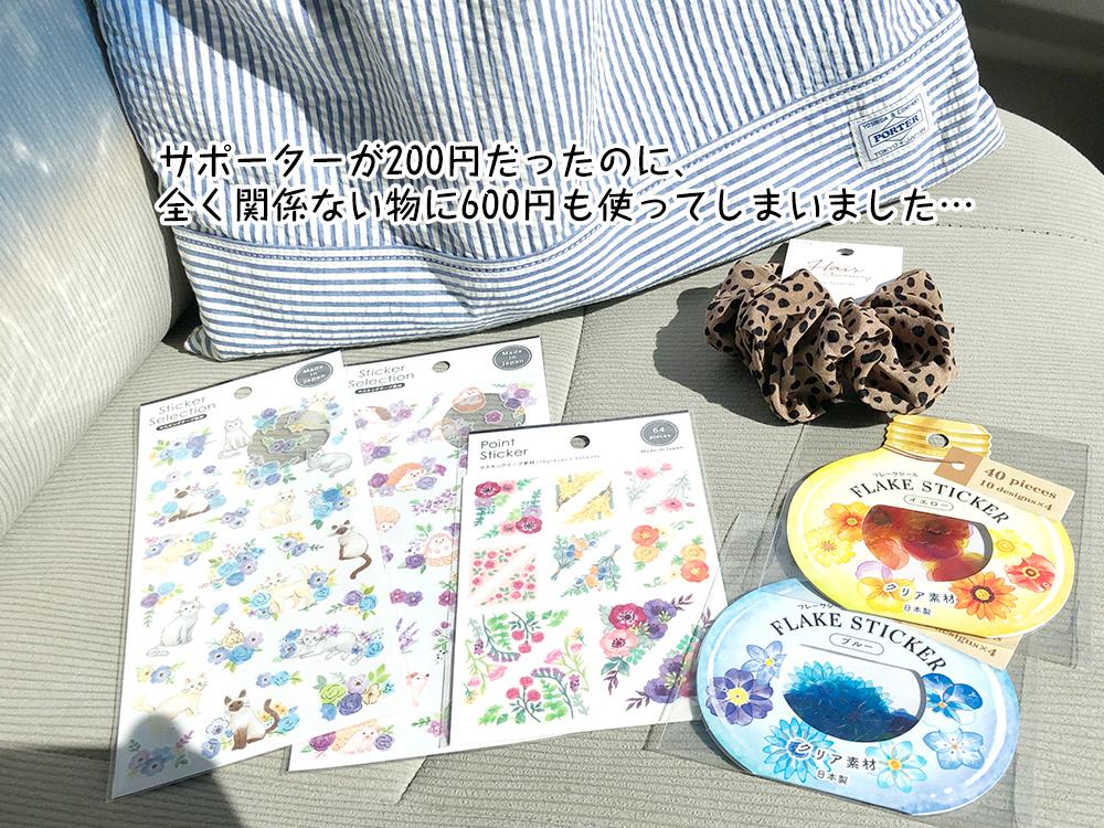 サポーターが200円だったのに、 全く関係ない物に600円も使ってしまいました…